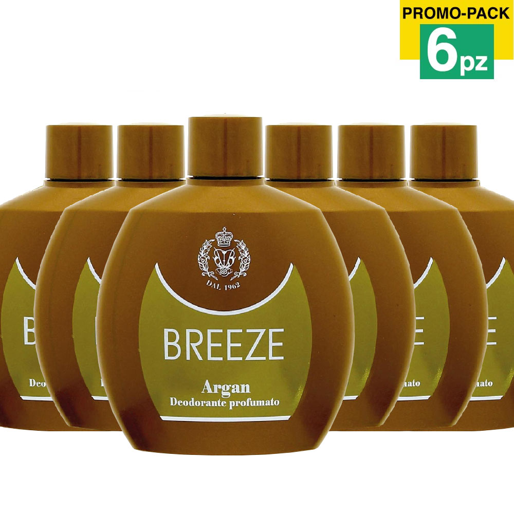 6 x breeze squeeze deodorante profumato argan 100ml corpo no gas .