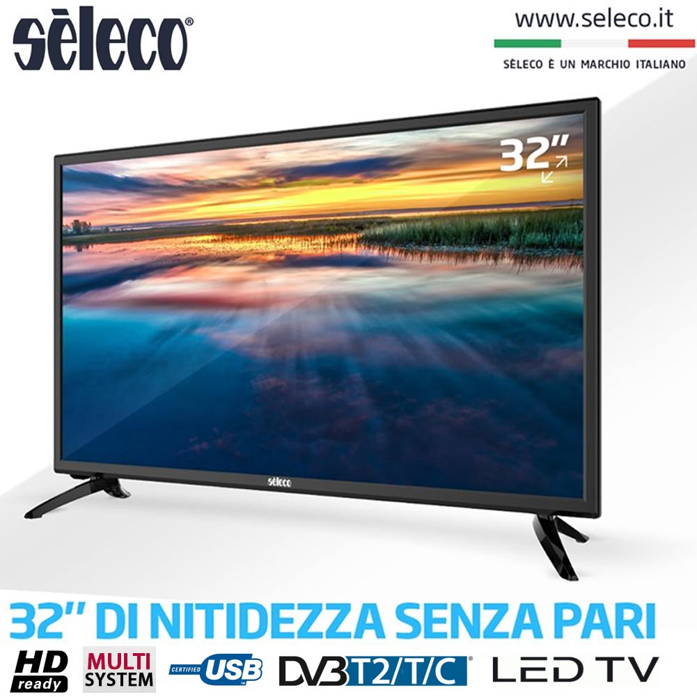 TV LED SELECO 32 EASY LIFE TELEVISORE SE32HDT HD READY 16:9 HDMI DV3 T2  NERO Bakaji Prezzi In Offerta Stock