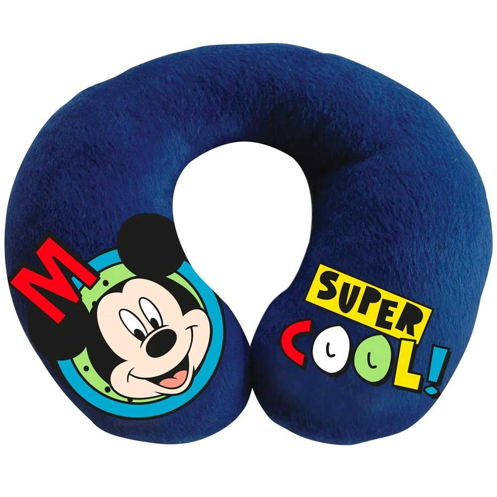 Cuscino per collo da viaggio in poliestere 23x21 cm disney michey mouse topolino.