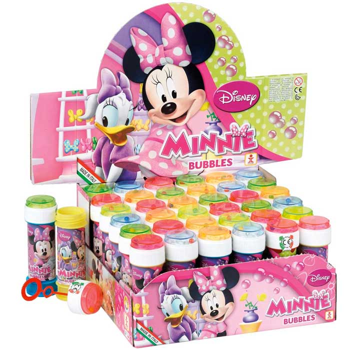 36 x bolle di sapone minnie paperina da 60 ml bubble game espositore completo.