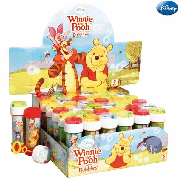 36 x bolle di sapone winnie the pooh da 60 ml bubble game espositore completo.