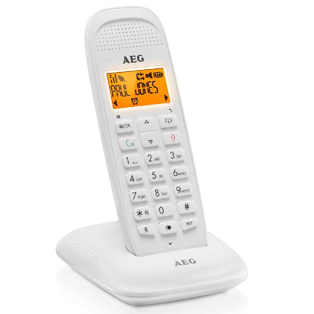AEG Voxtel D81 Telefono Domestico DECT Cordless Display 1,6'' LCD Bianco.
