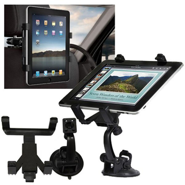 Supporto porta tablet per cruscotto e poggiatesta auto stand braccetto ipad nero.