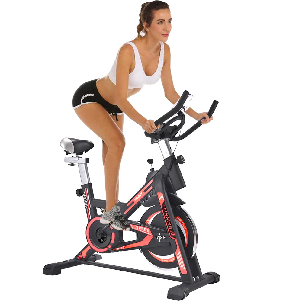 Cyclette spinning bike allenamento bici cardio fitness bicicletta palestra rosso.