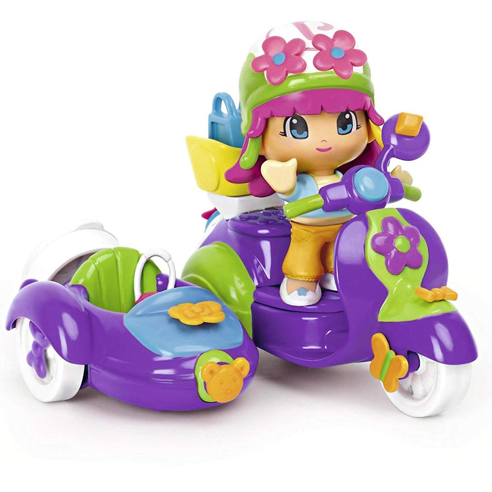 Playset pinypon mondo city bambola personaggio + moto e accessori gioco famosa.