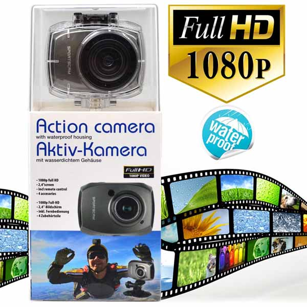 "Action Camera 4 accessori waterproof impermeabile HD 1080p schermo LCD 2,4"" 5mpx."