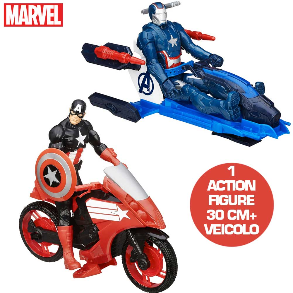 action figure capitan america moto o iron man jet 30 cm marvel hasbro giochi ebay. Black Bedroom Furniture Sets. Home Design Ideas