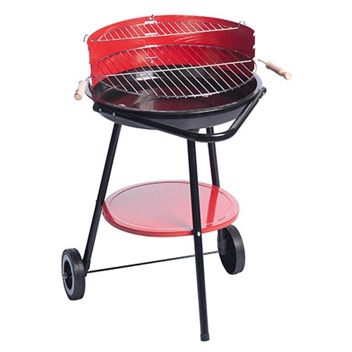Barbecue Steel Grill a Carbone 49,5x61,5x76 cm Con 2 Ruote BBQ Collection Rosso.