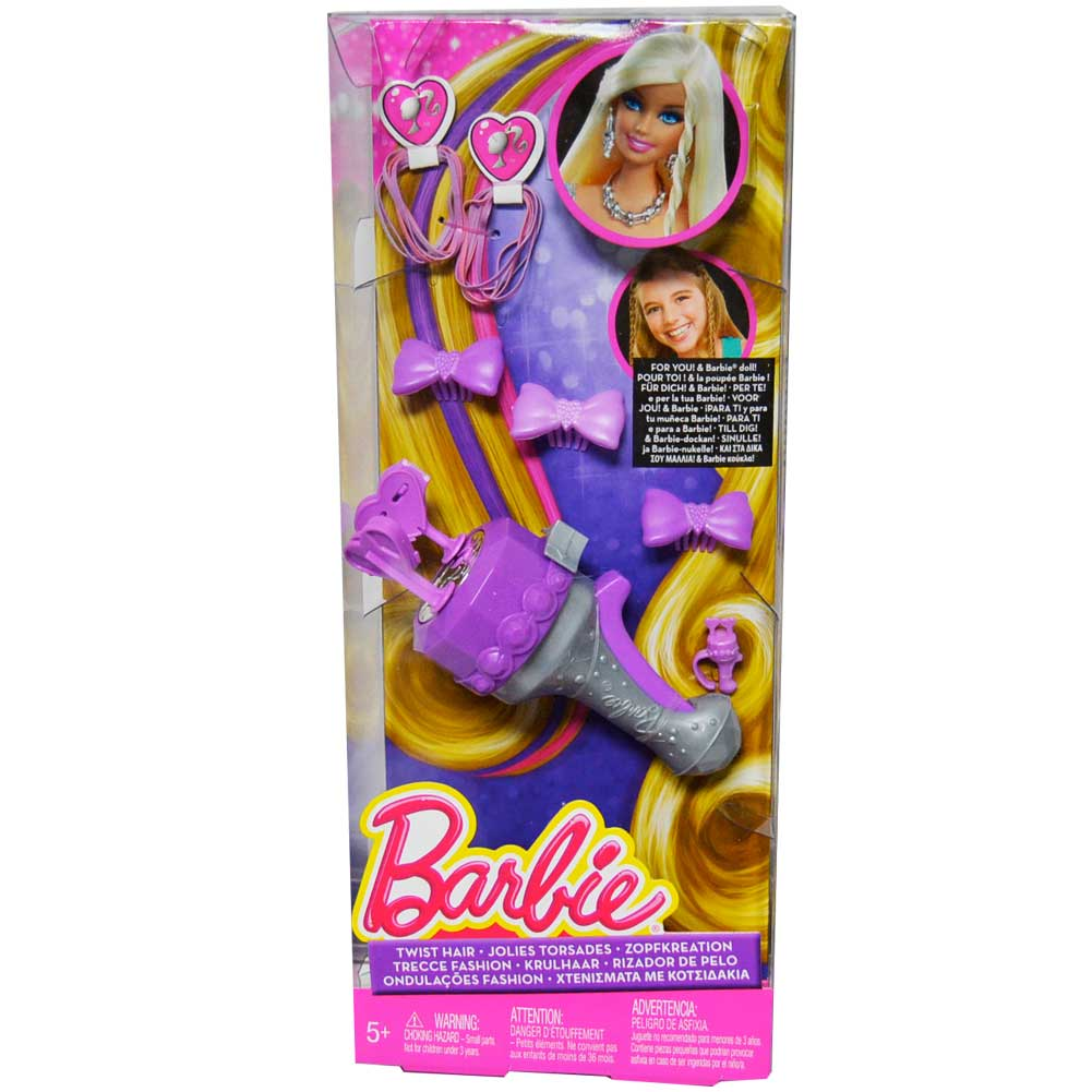 Barbie crea trecce twist hair acconciature fashion bambine con fermagli elastici.