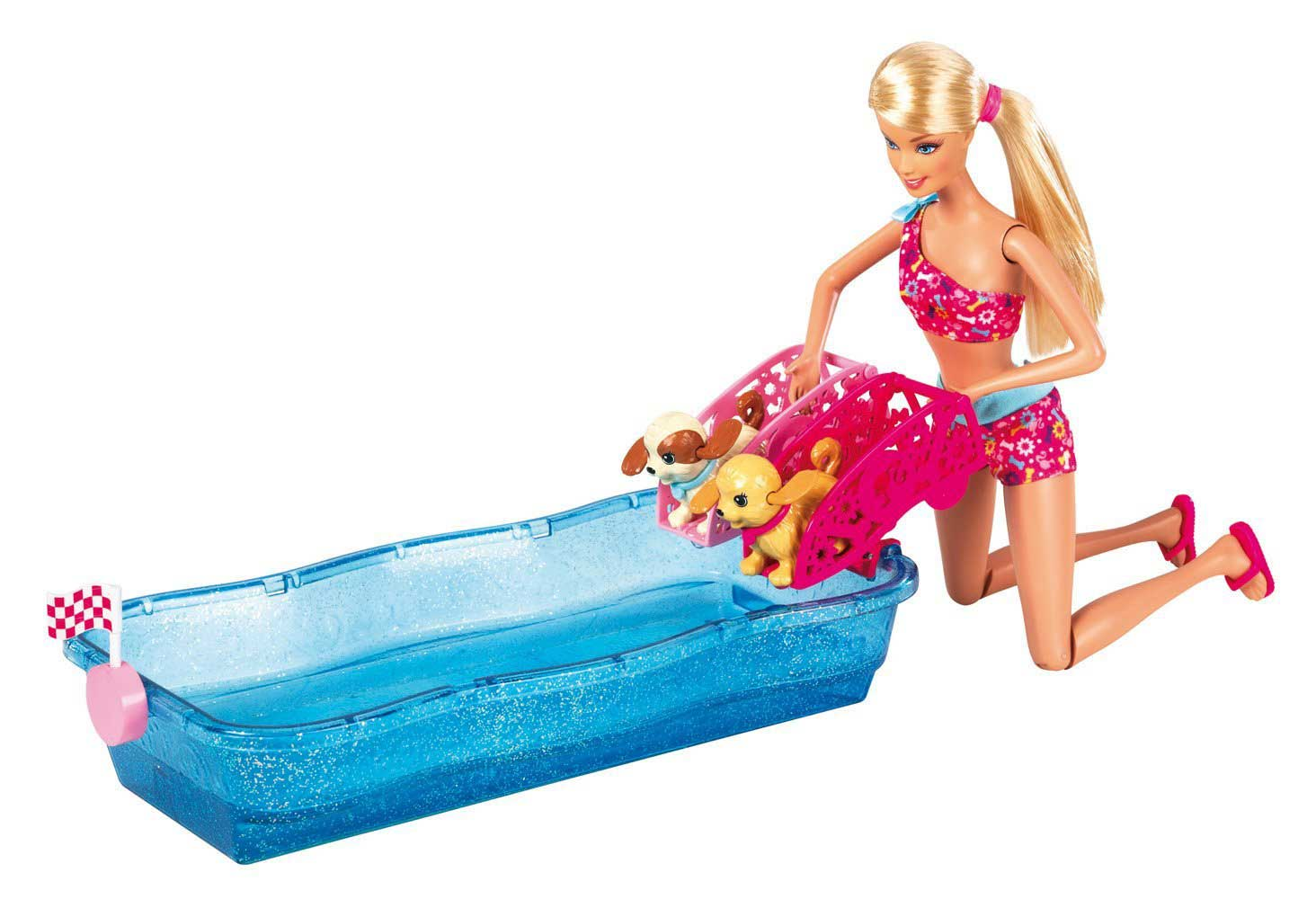 Barbie la gara dei cuccioli mattel con piscina e due for Piscina di barbie