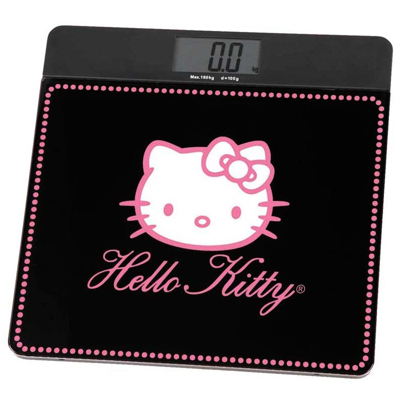 Bilancia Pesapersona Digitale Hello Kitty Forma Quadrata Colore Nero.