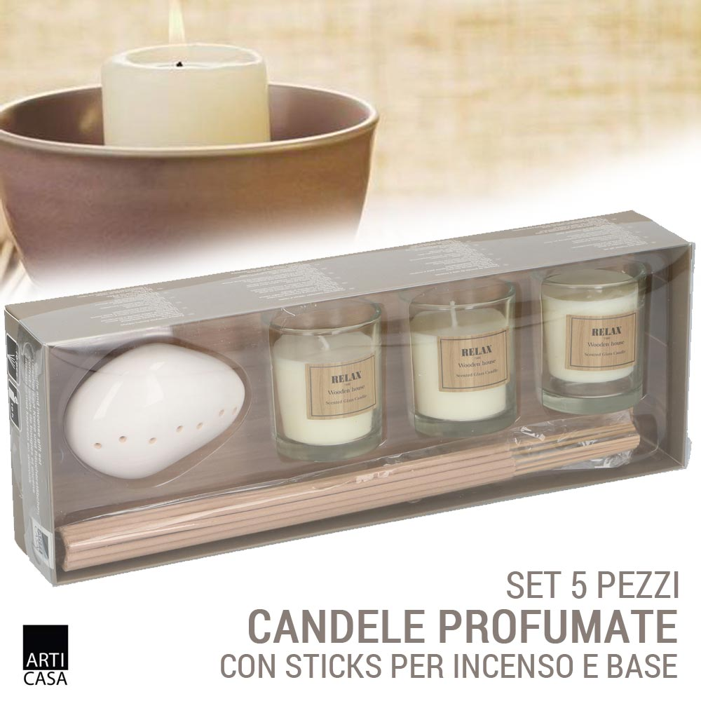 Dettagli su Candele Profumate Ambiente + Sticks Incenso Con Base 5PZ Assortiti Arti Casa