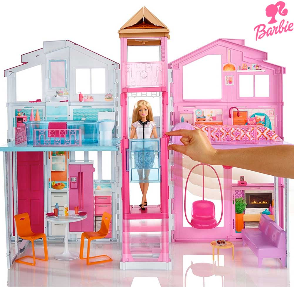 Casa di malibu di barbie con 3 piani 4 stanze ascensore for Piani casa ranch con 3 box auto