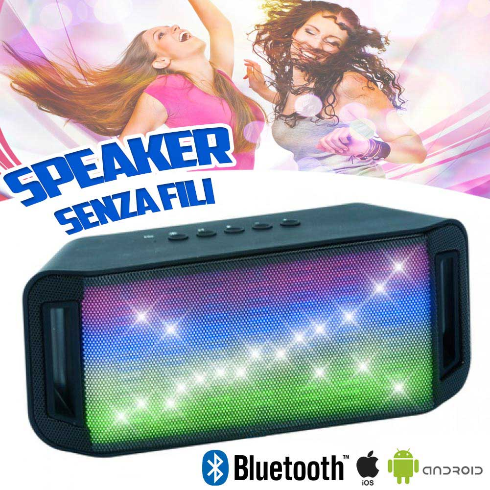 Cassa Speaker Bluetooth Senza Fili Wireless Luci LED Smartphone Tablet 19x8cm.