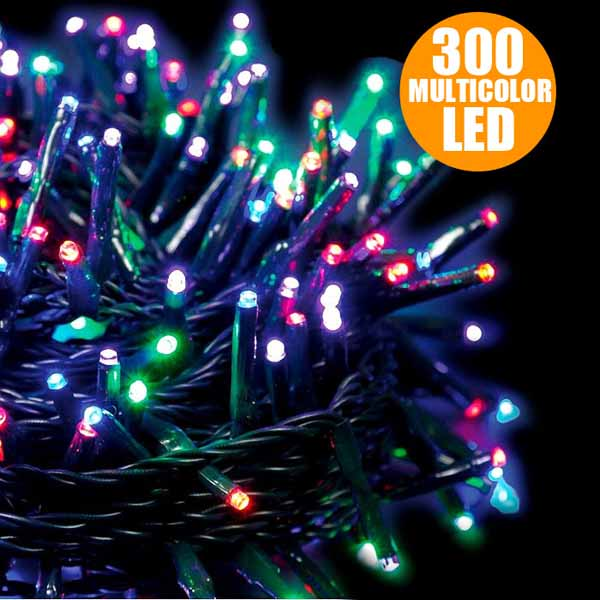 Catena Luci a LED Luminosa Natalizia 15,5 Metri 300 LED Multicolor 8 Giochi Luce.