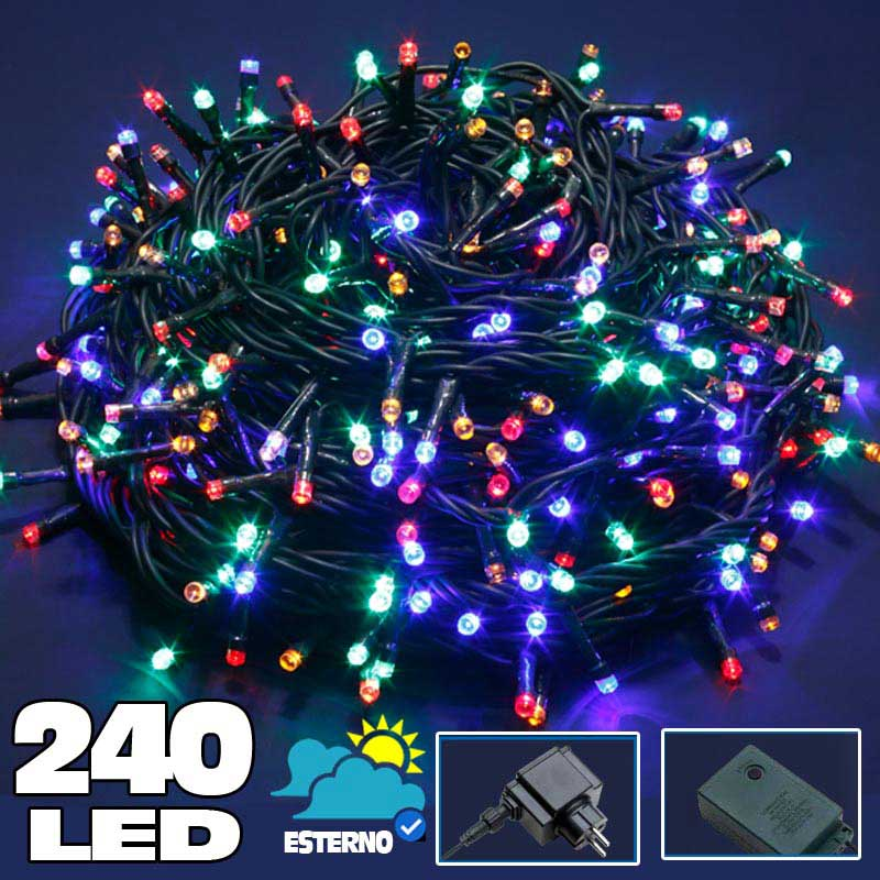 Catena Luci a LED Luminosa Natalizia Metri 240 LED Multicolor con 8 Giochi Luce.