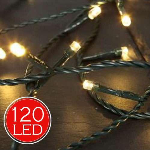 Catena Luminosa 14,5 mt Luci Natale 120 LED Bianco Caldo Luminar Interno Esterno.