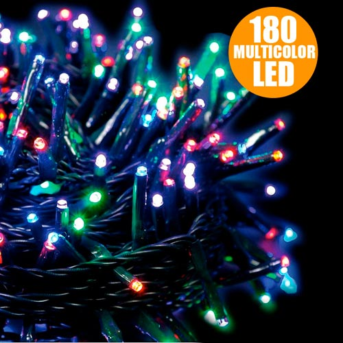 Catena luminosa 180 luci led lucciole multicolor con for Luci a led prezzi