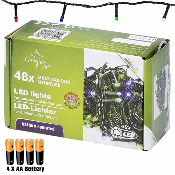 Catena Luminosa 2,75 mt Luci 48 LED Multicolor a batteria con 6 Giochi di Luce.