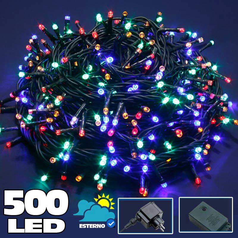 Catena luminosa 500 luci led lucciole multicolor - Luci led per esterno ...