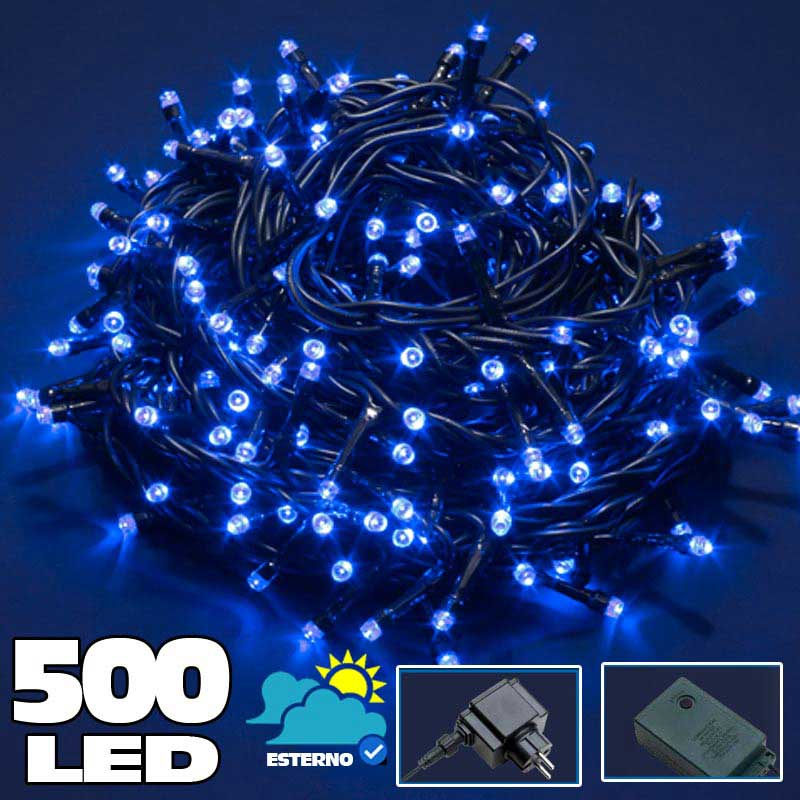 Catena luminosa 500 luci led lucciole blu con controller 8 for Luci a led prezzi