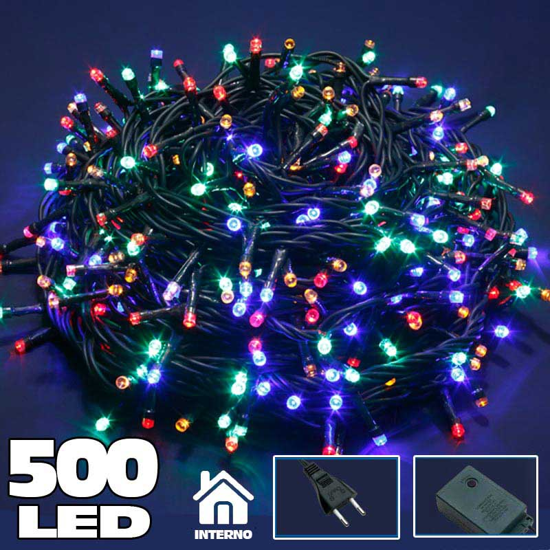 Catena luminosa 500 luci led lucciole multicolor con for Luci a led prezzi