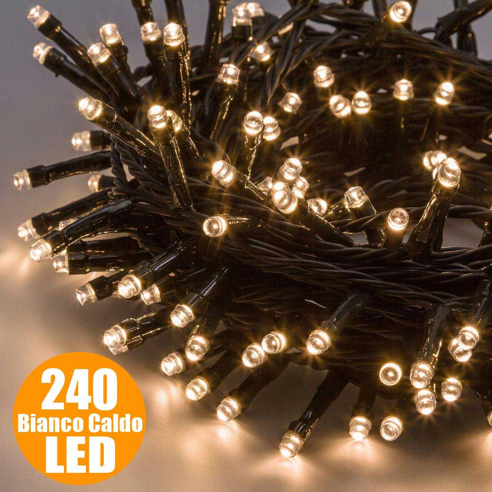 Catena luminosa natale 240 luci a led bianco caldo per for Catena negozi arredamento casa