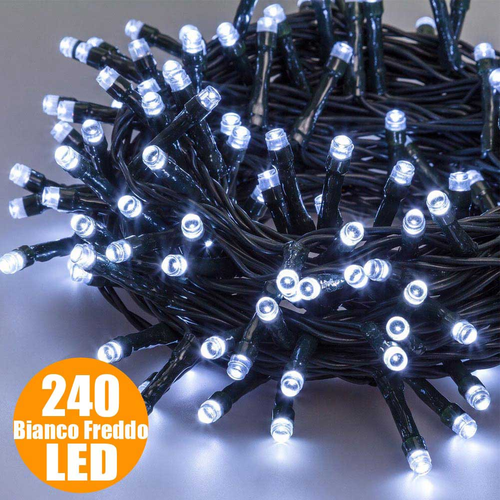 Catena luminosa natale 240 luci a led bianco freddo per for Luci led per esterno