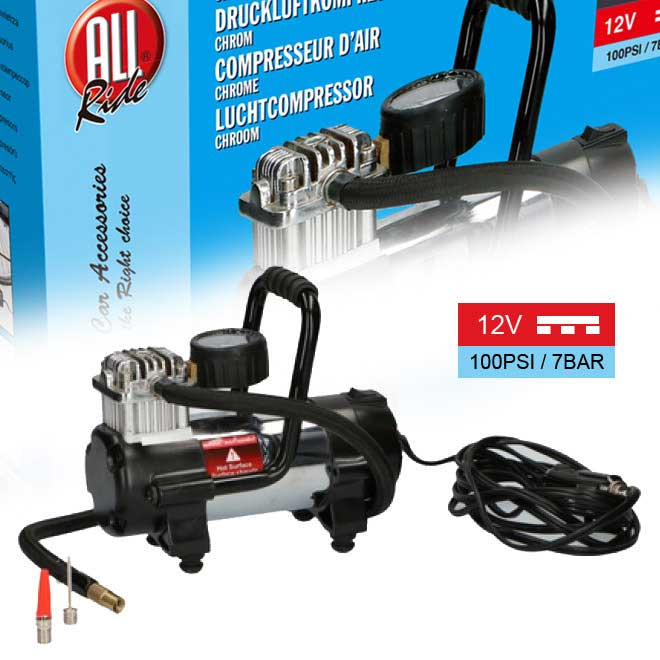 Compressore aria 12v portatile per auto moto 100psi 7bar con accessori all ride.