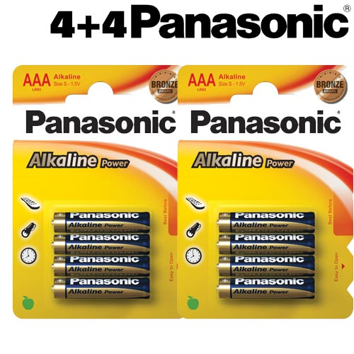 8 Batterie Pile Ministilo Panasonic Alkaline Power Plus AAA Pile Mini Stilo .