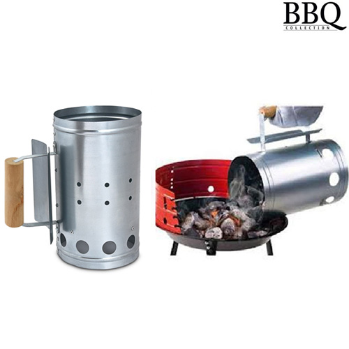 CONTENITORE SECCHIO PER CARBONE IN ZINCO CON MANICO PER BARBECUE BBQ COLLECTION.