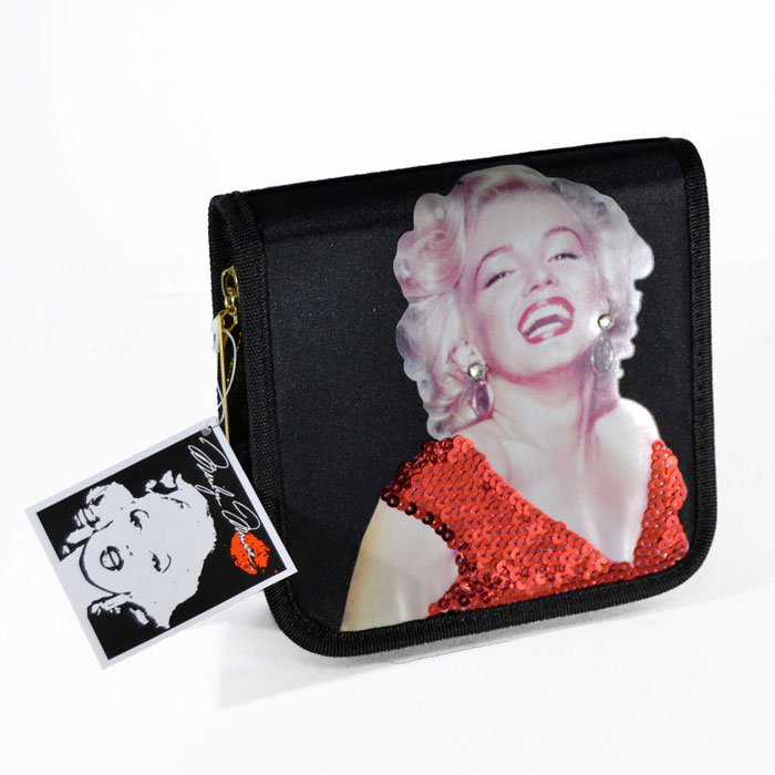 Custodia Porta CD DVD Marilyn Monroe Red Dress In PVC Chiusura a Zip Colore Nero.