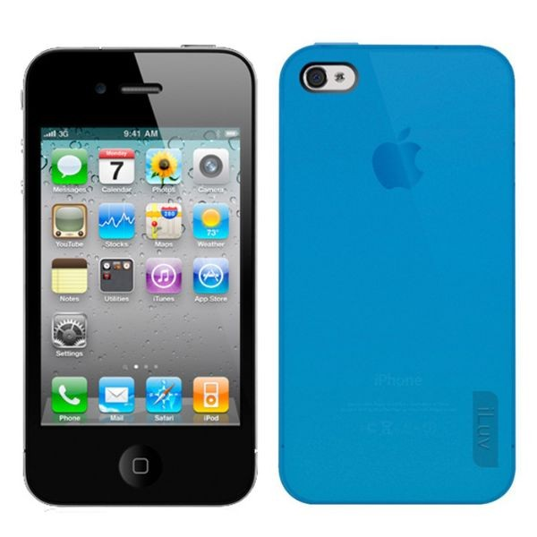 Custodia Semi-Trasparente per iPhone 4/4S Blu iLuv ICC746BLU Flex Gel.