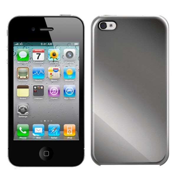 Custodia Simil Titanio per iPhone 4/4S Color Argento iLuv Gilt Titanium Case.