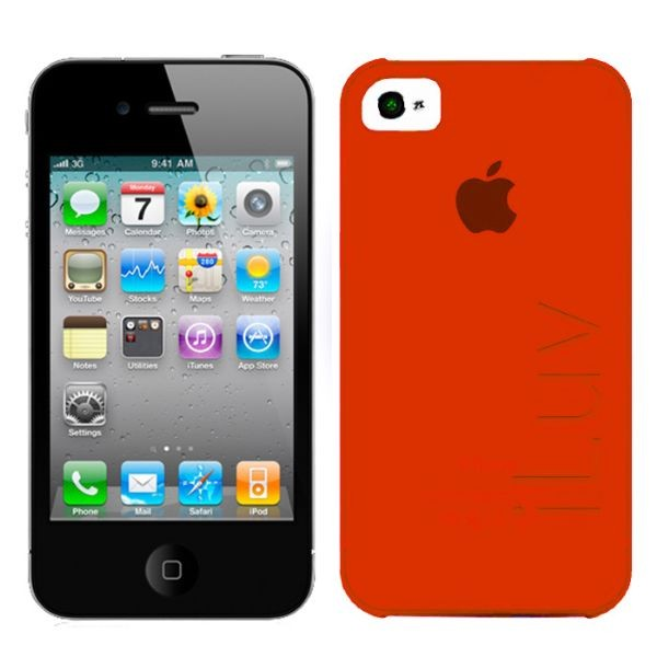 Custodia ultra fine in plastica per iphone 4/4s rossa iluv icc733red silk.