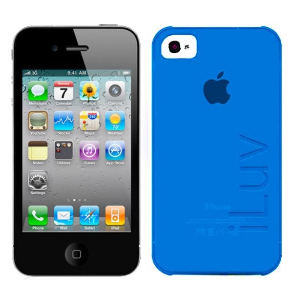 Custodia Ultra Fine In Plastica per iPhone 4/4S Colore Blu iLuv ICC733BLU Silk.