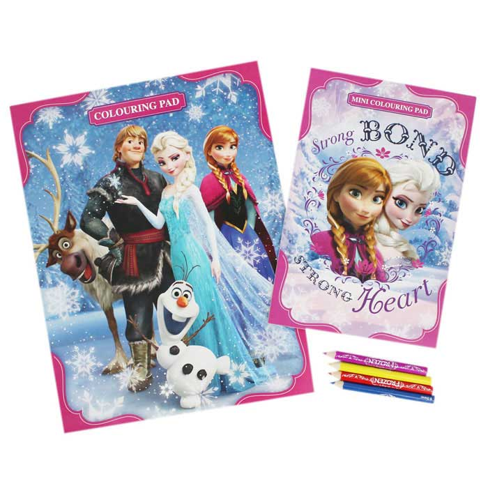 Disney Frozen Play Pack Set Immagini da Colorare e 4 Matite Incluse.