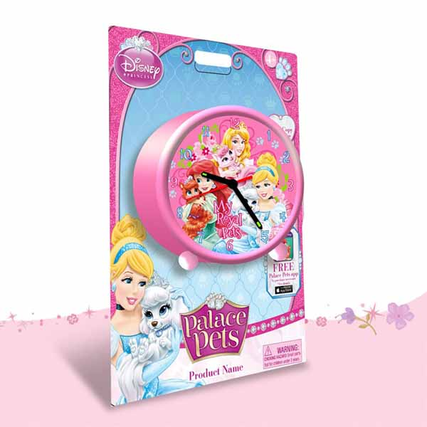 Orologio Sveglia Disney Princess Palace Pet Diametro 9 cm Rosa.