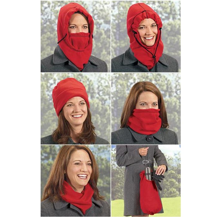 Fleece hood 5 in 1 scaldacollo cappello sciarpa in pile 6 colori assortiti.