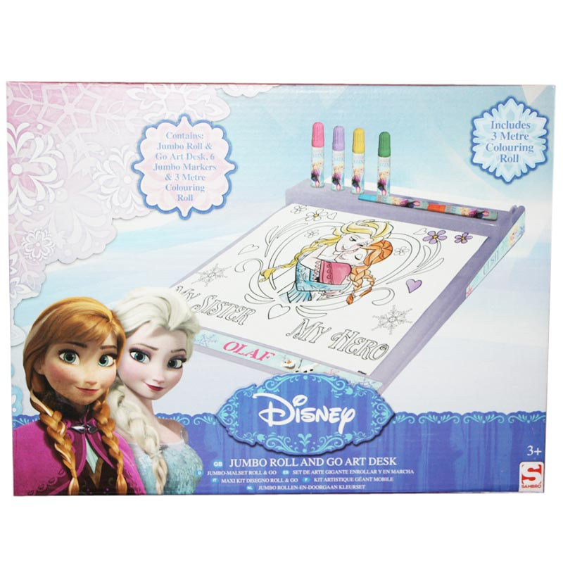 Kit Disegno Frozen Disney Roll And Go + Pennarelli + Rullo 3 metri Bambine.