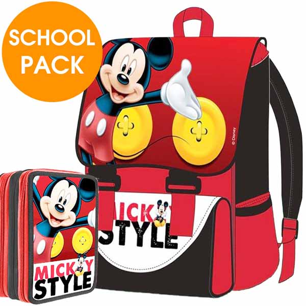 Kit Scuola School Pack Zaino Estensibile + Astuccio 3 Zip Disney Mickey Mouse.