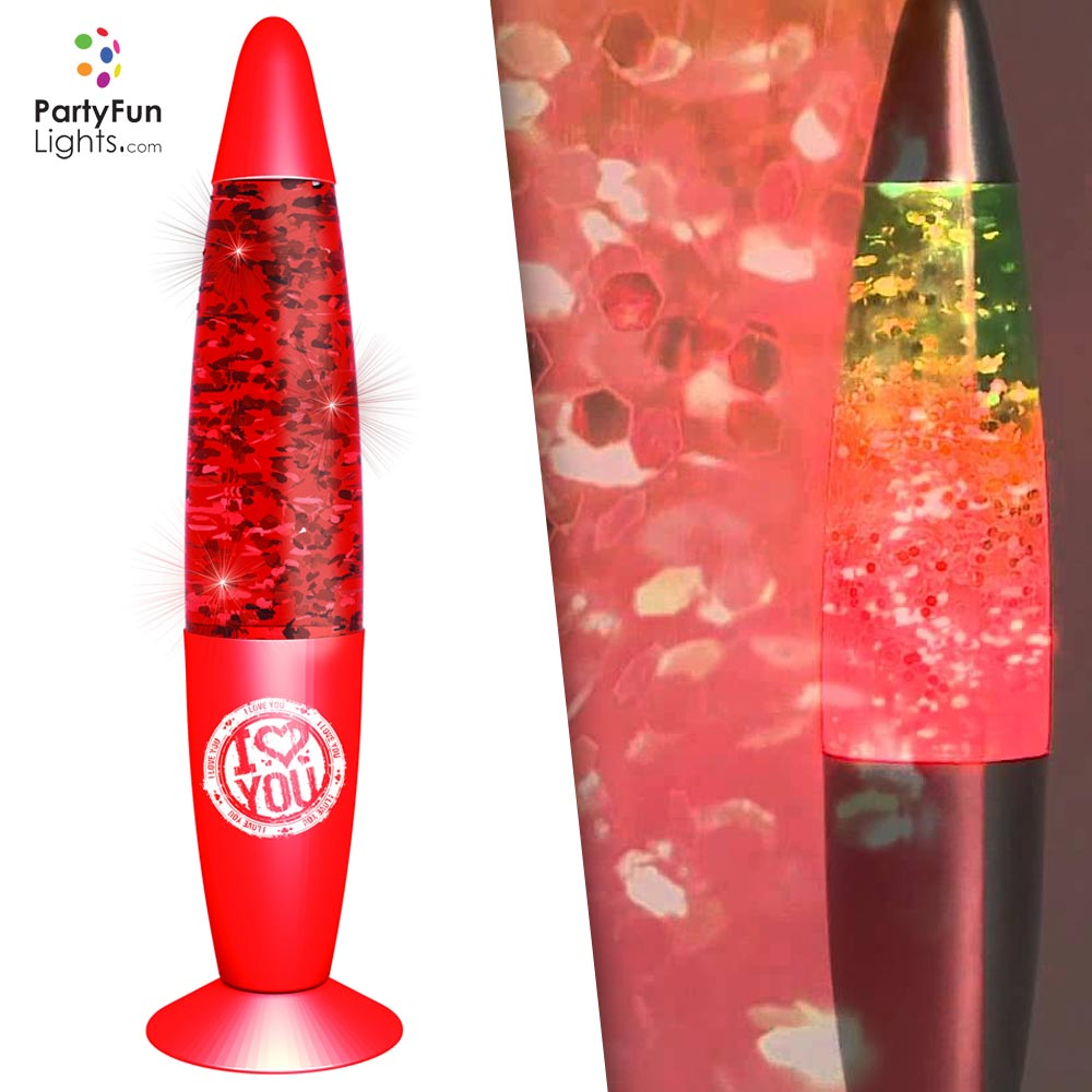 Lampada Glitter I LOVE YOU Luce a LED 220V 20W Rosso Party Fun Lights.
