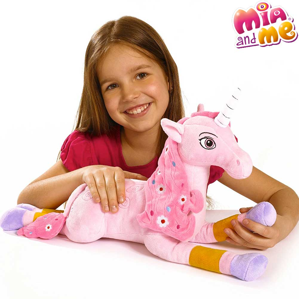 Lyria Unicorno Peluche Disteso 40 cm Criniera Rosa Mia And Me Simba Toys.