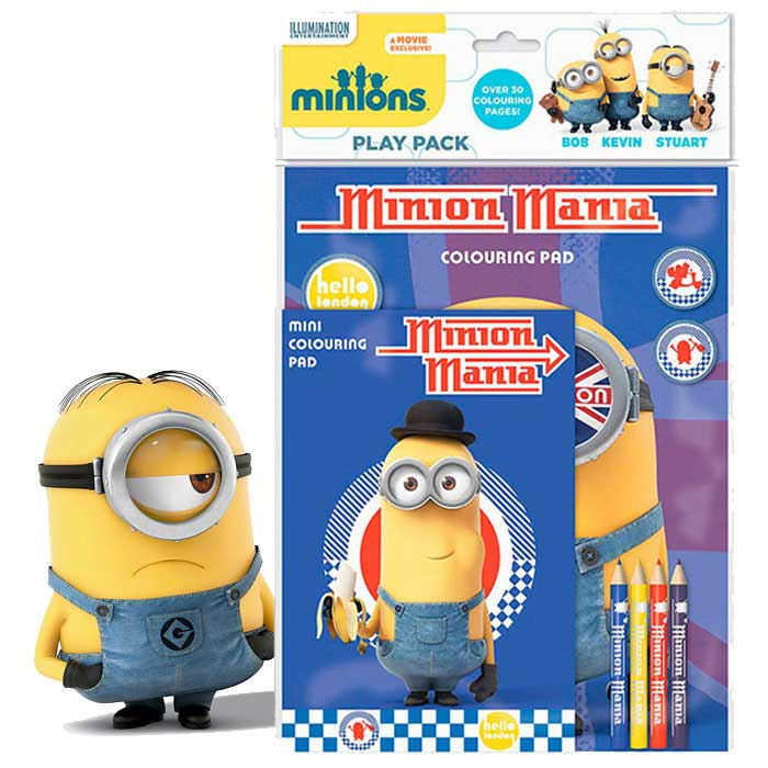 Minions Play Pack Set Immagini da Colorare e 4 Matite Incluse Cattivissimo Me.