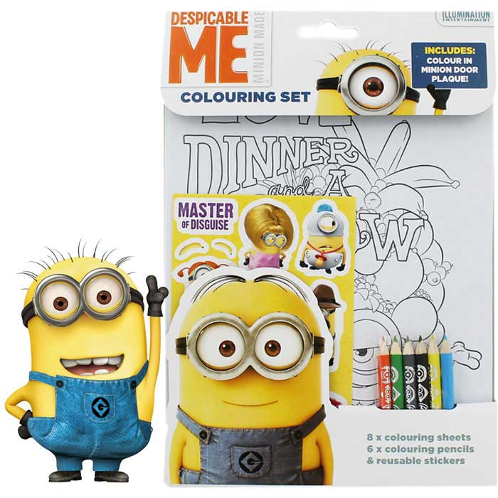 Minions Set Album da Colorare e Stickers Adesivi Cattivissimo Me.