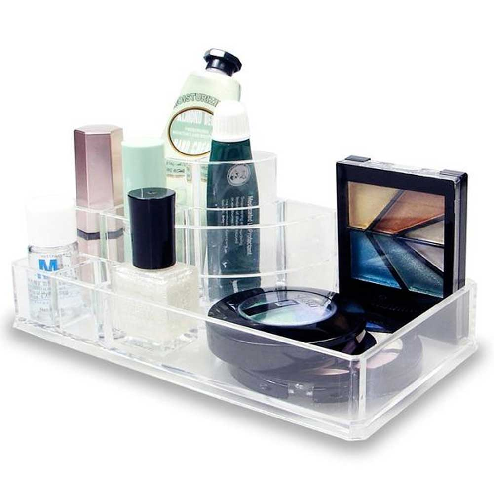 Organizer Cosmetici Make Up Accessori Espositore 8 Scomparti 17x9cm Acrilico.