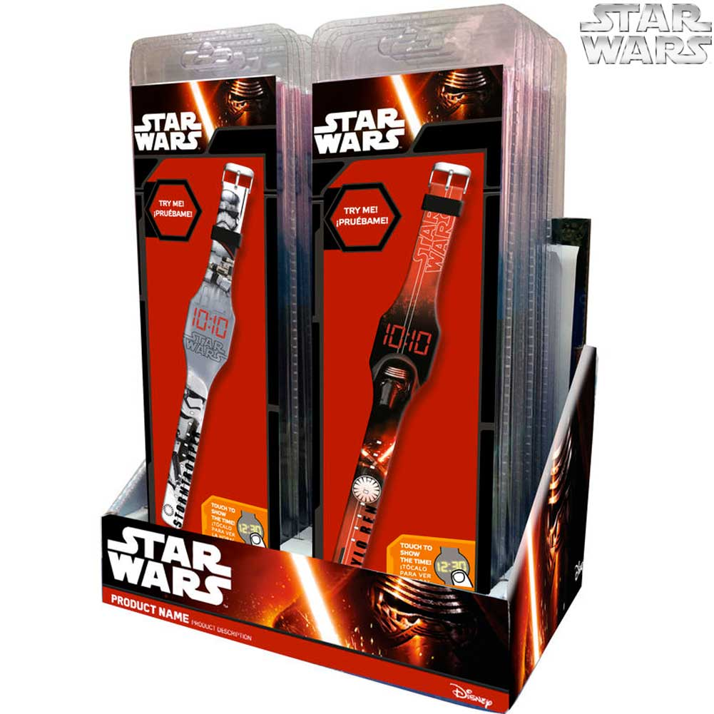 Orologio digitale a led da polso star wars display touch kids euroswan.