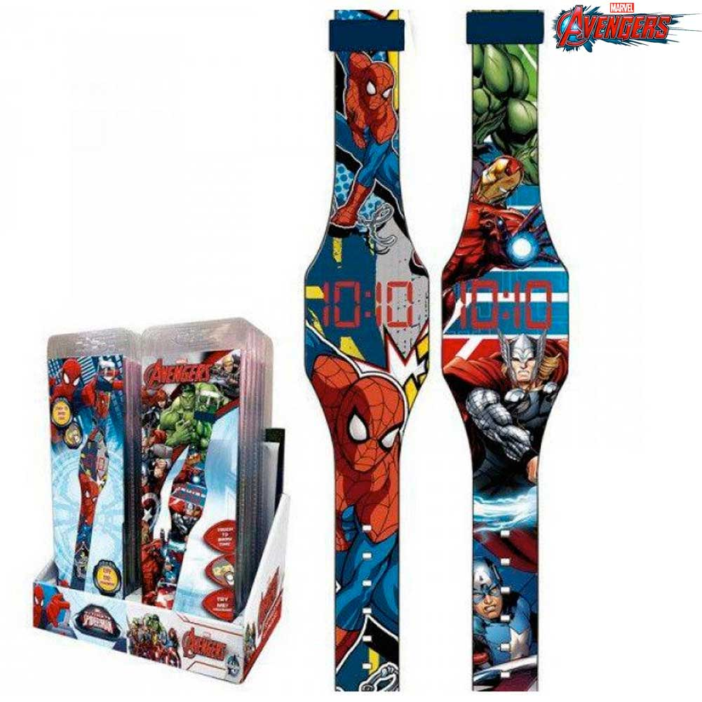 Orologio digitale a led da polso avengers display touch marvel kids euroswan.