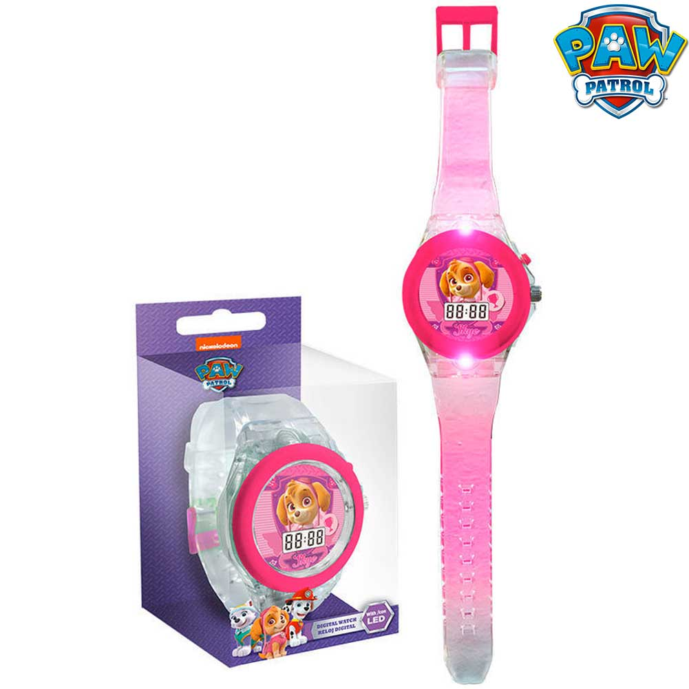Orologio digitale da polso skye paw patrol con luce led in scatola regalo kids.