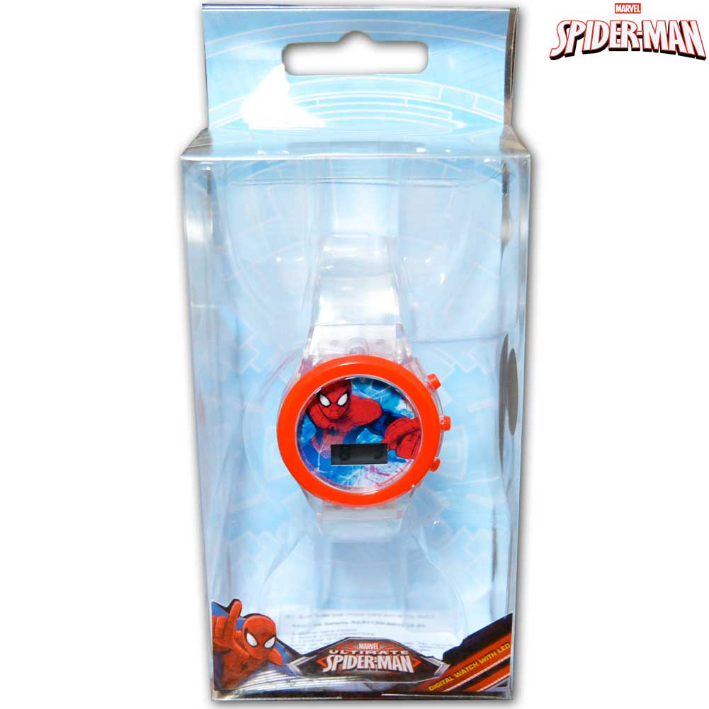 Orologio digitale da polso spiderman con luce led in scatola regalo marvel kids.